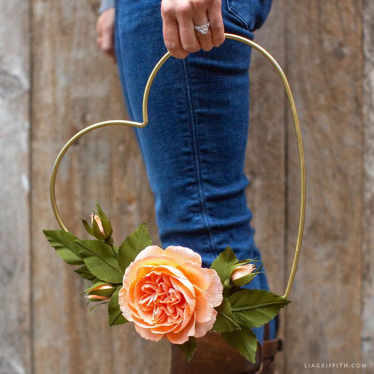 crepe paper rose heart wreath