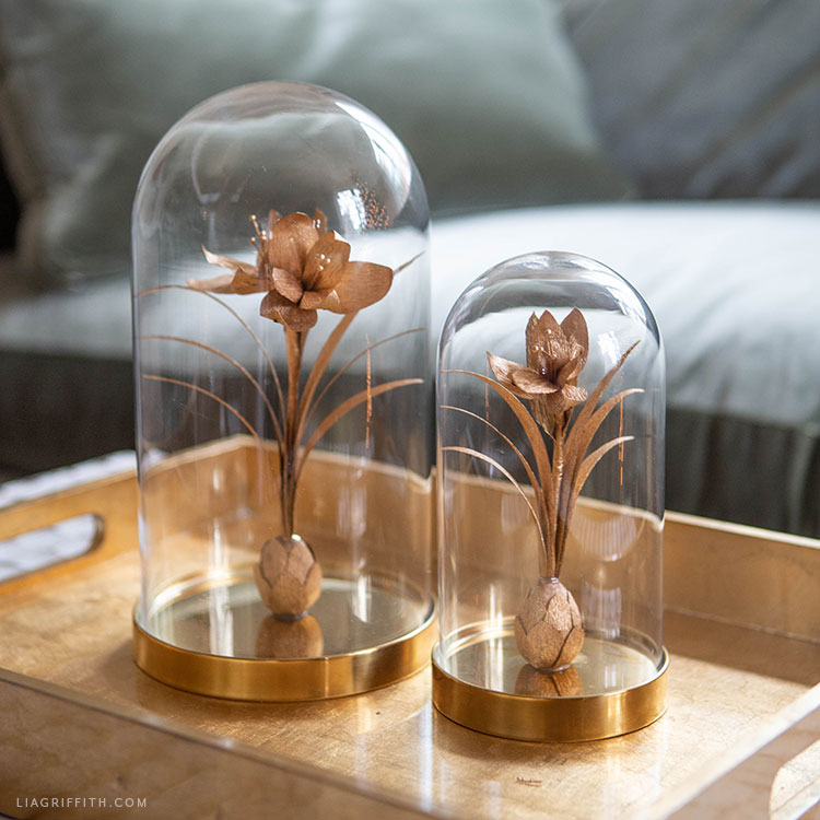 handmade gold crepe paper amaryllis in cloche