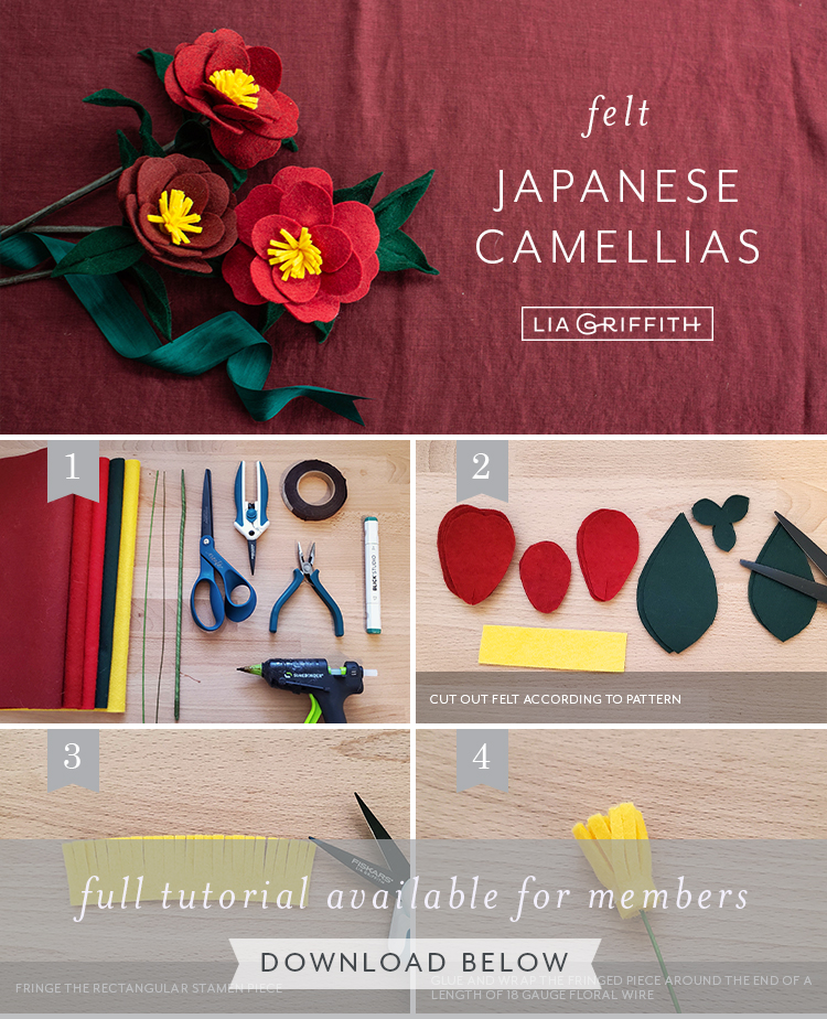 photo tutorial for felt Japanese camellias by Lia Griffith