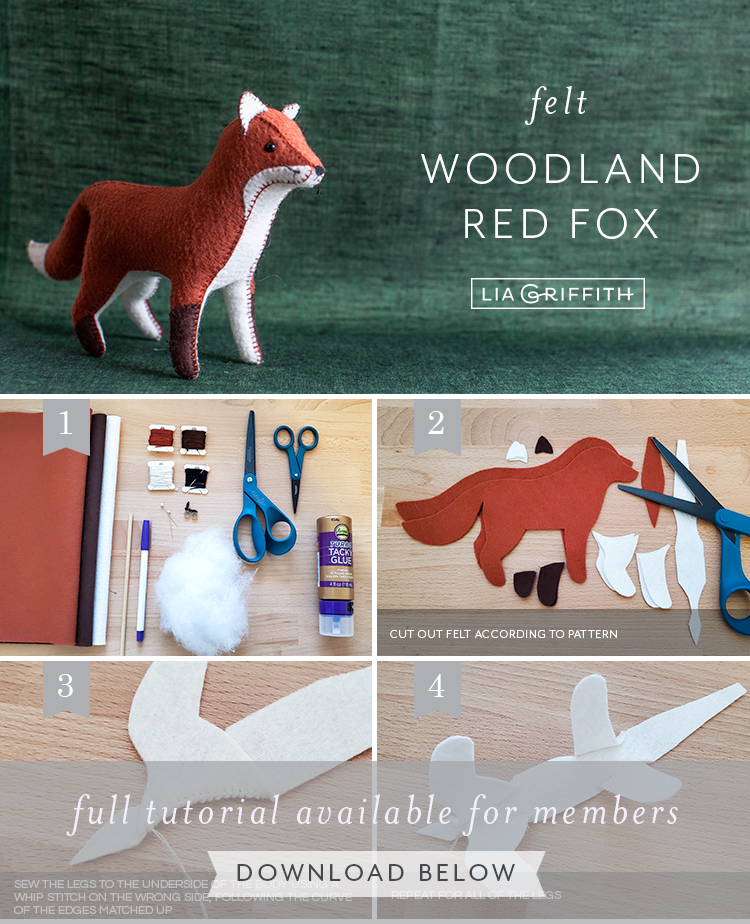 photo tutorial for felt woodland red fox by Lia Griffith