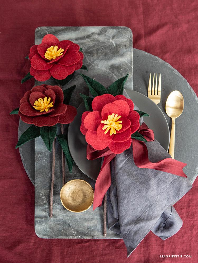 DIY felt Japanese camellias