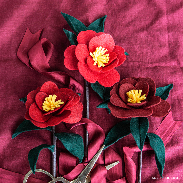 felt Japanese camellias