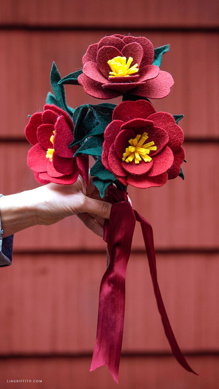 handmade felt Japanese camellias