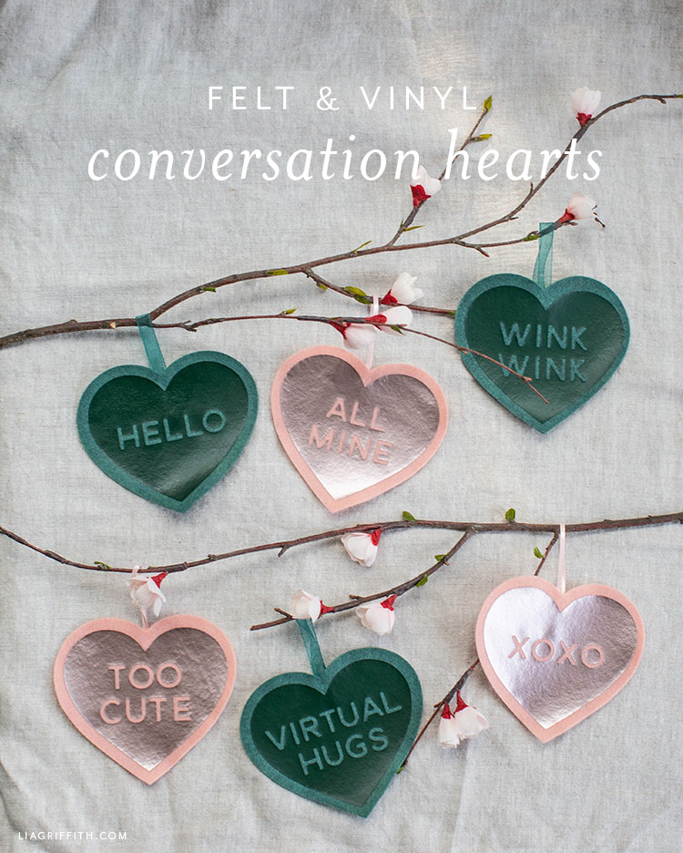 felt and vinyl conversation hearts