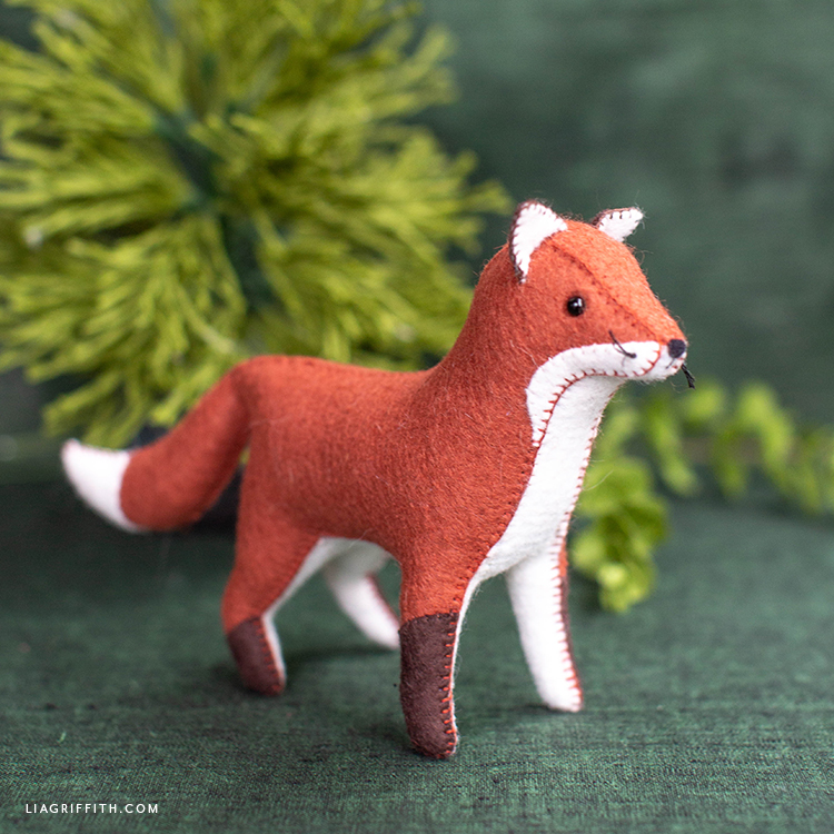 handstitched felt red fox