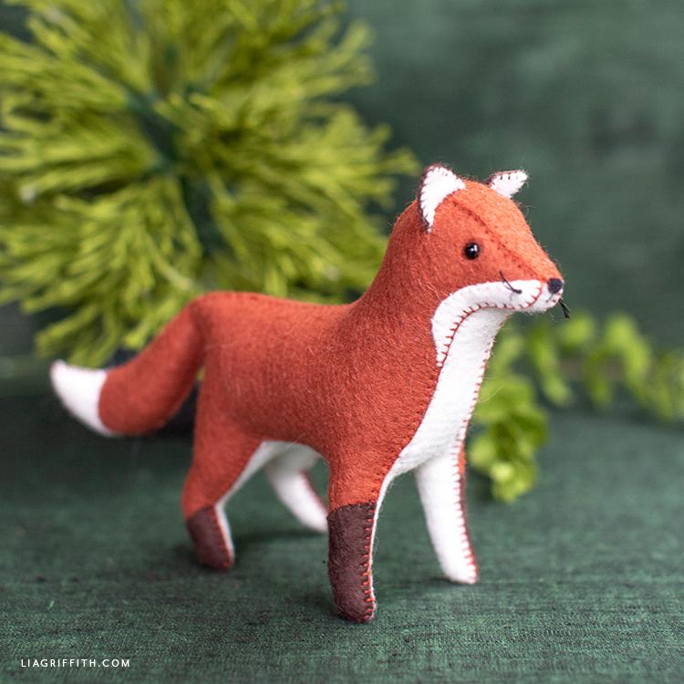 handstitched felt red fox