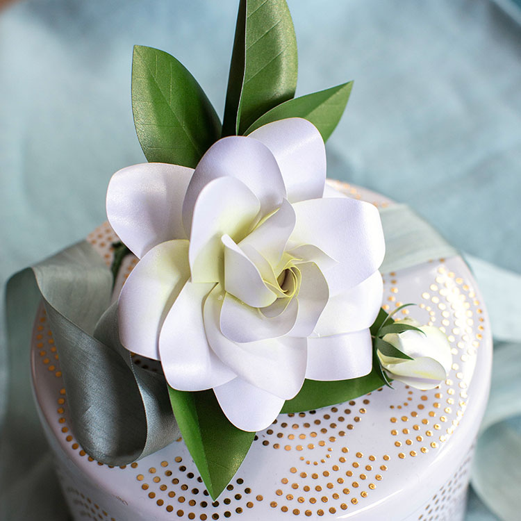 frosted paper gardenia bloom and bud