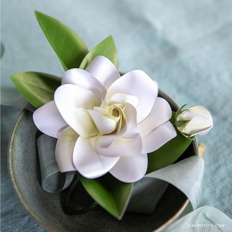 handmade paper gardenia flower with bud