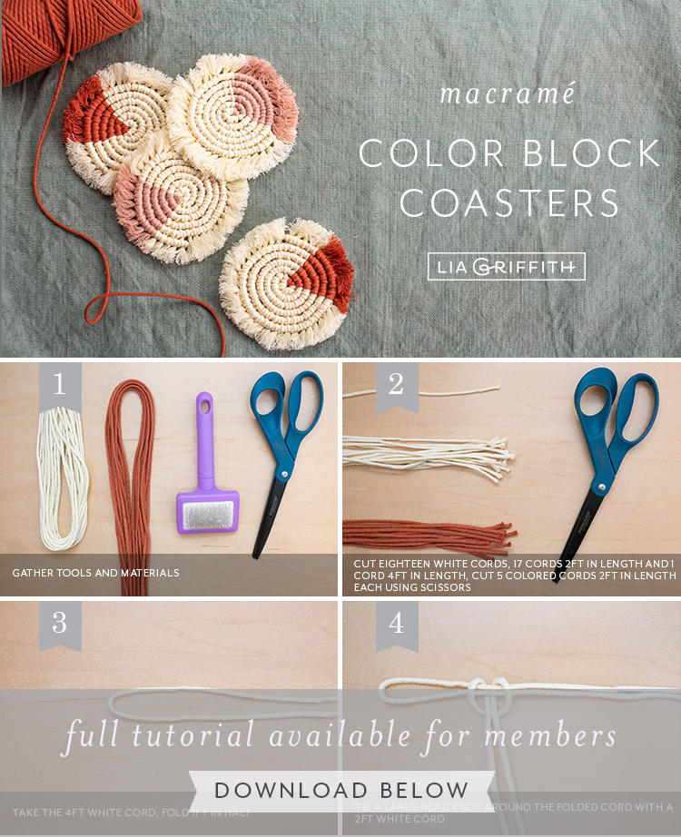 photo tutorial for macrame color block coasters by Lia Griffith