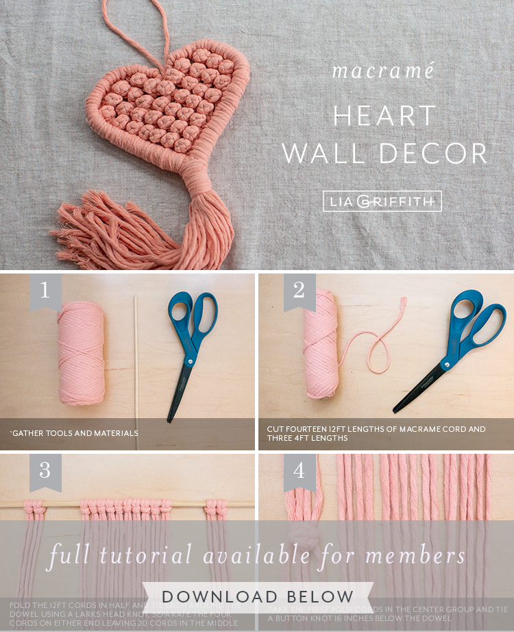 macrame heart wall decor photo tutorial by Lia Griffith