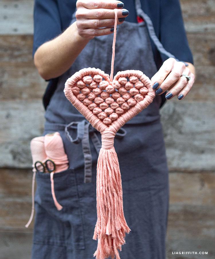 DIY makramé szív