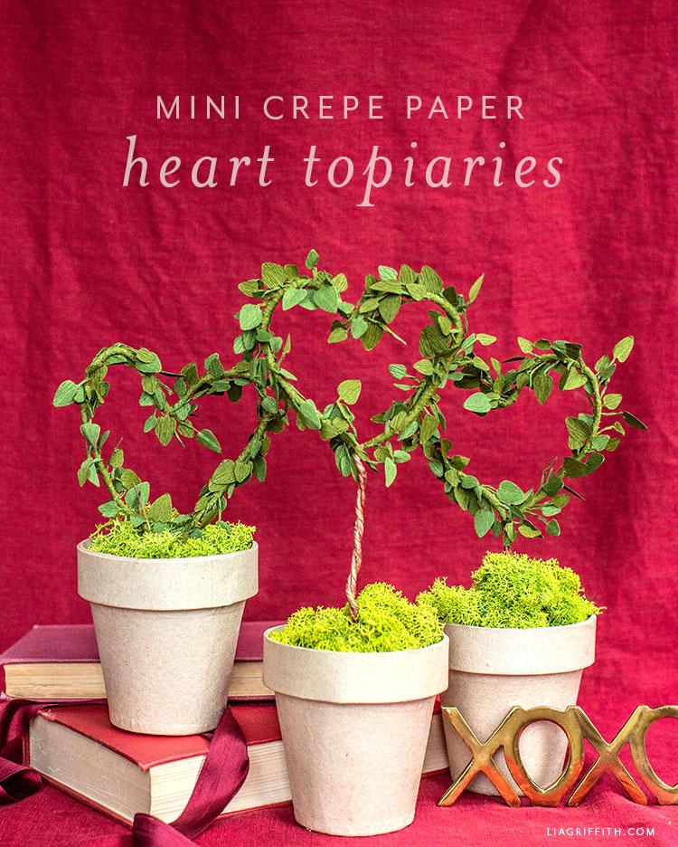 mini crepe paper heart topiaries