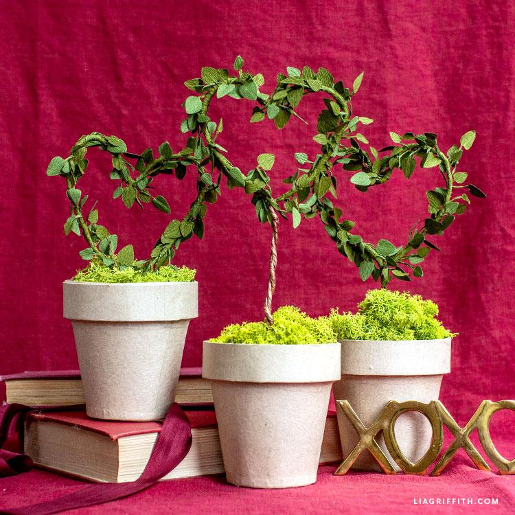 Handmade crepe paper heart topiaries