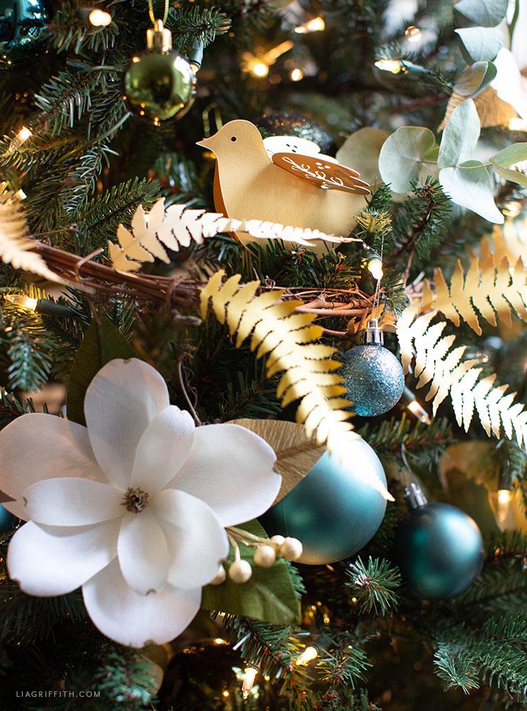 crepe paper magnolia and paper bird ornament
