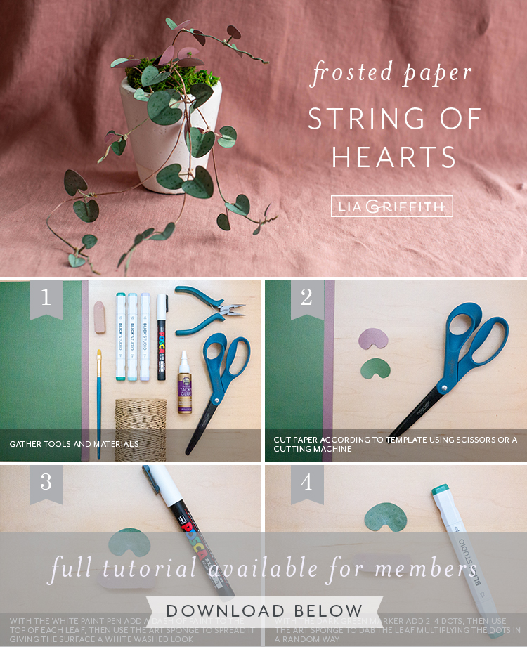 photo tutorial for frosted paper string of hearts by Lia Griffith
