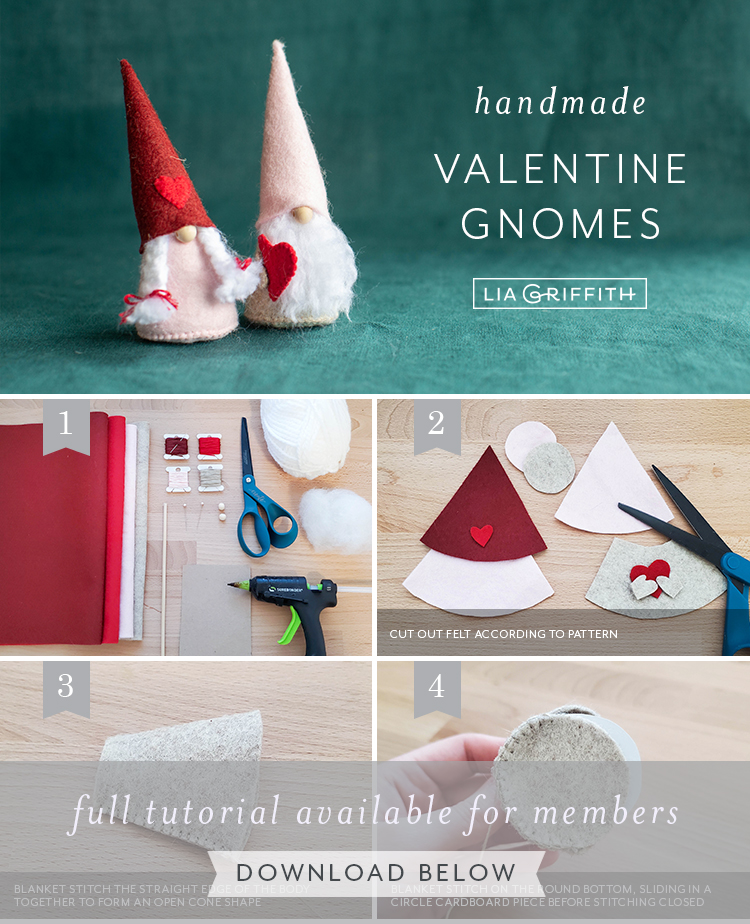 photo tutorial for handmade valentine gnomes by Lia Griffith