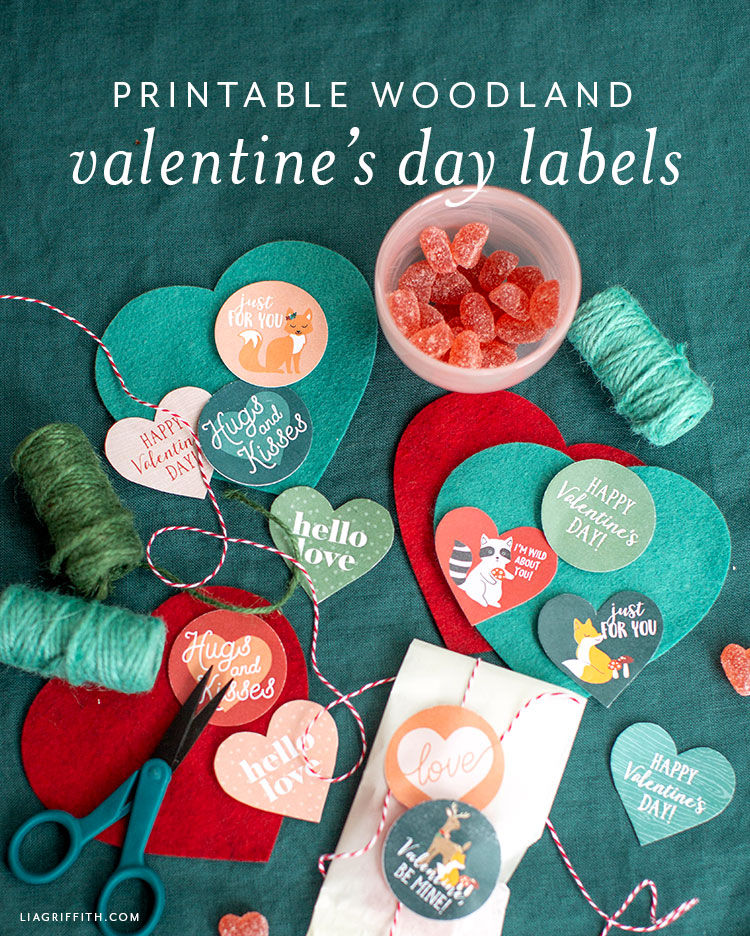 printable woodland themed valentine's day labels