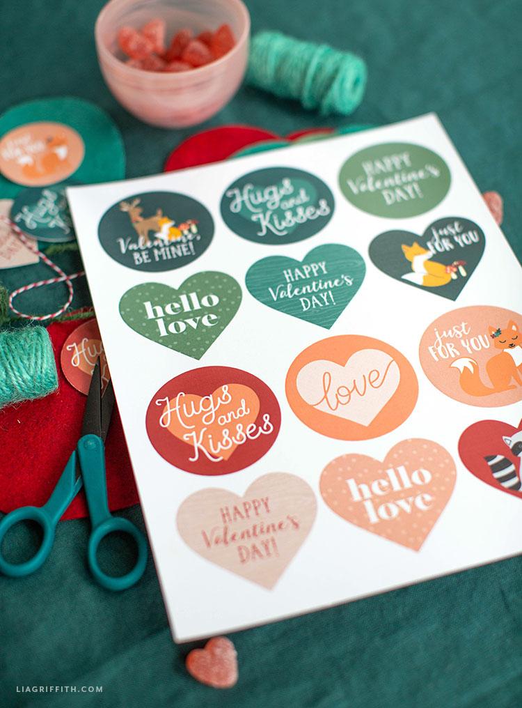 printable valentine stickers