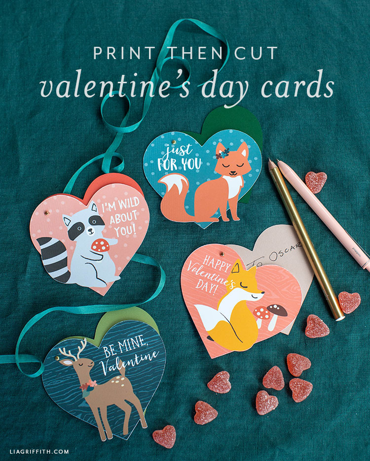 print then cut valentine's day cards