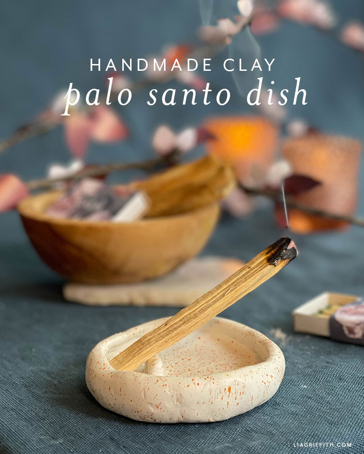 handmade clay palo santo dish