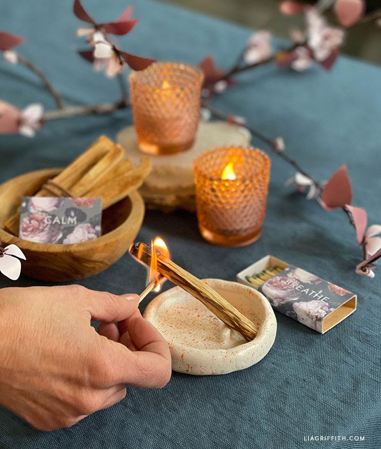 palo santo stick DIY clay dish