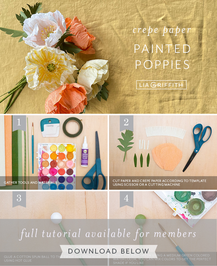 crepe paper painted poppies tutorial by Lia Griffith