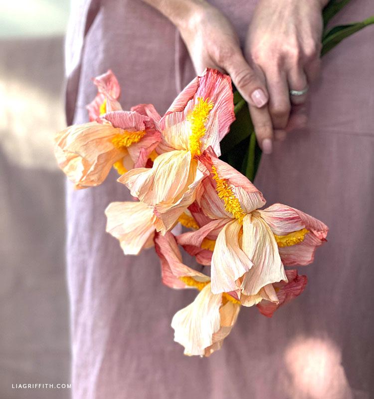handmade crepe paper bearded iris flowers