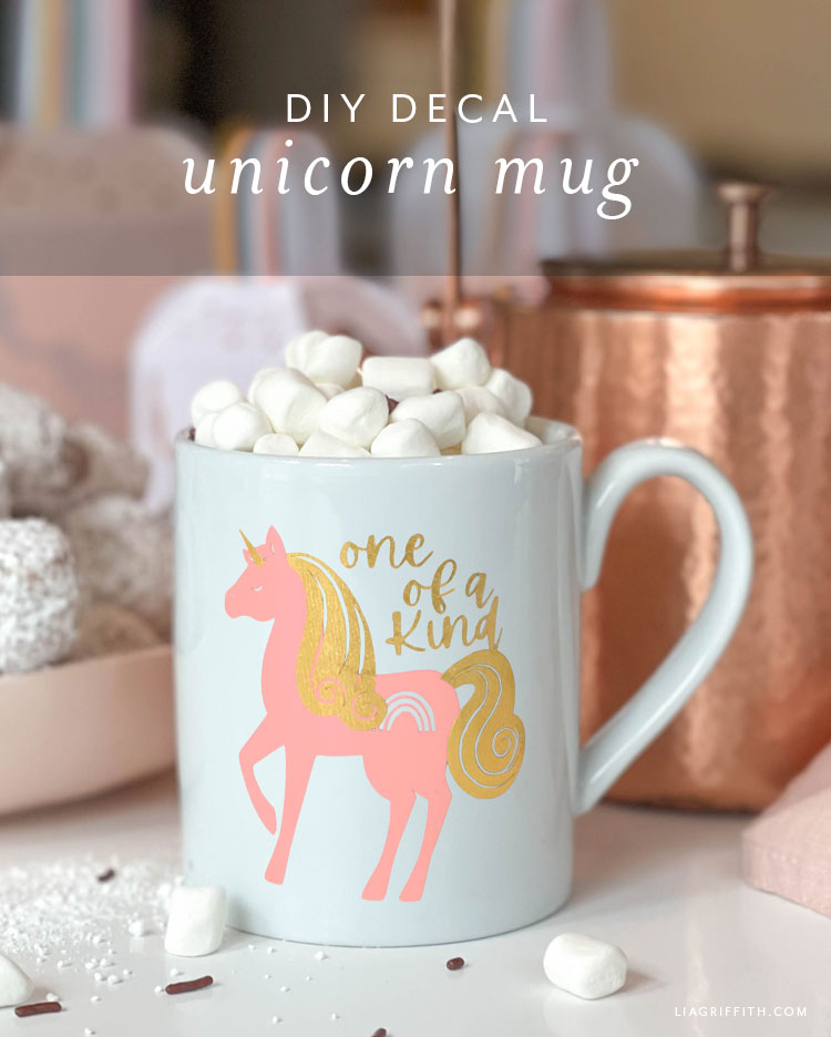 DIY decal unicorn mug
