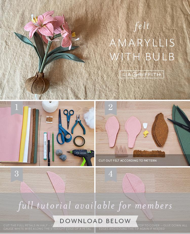 felt amaryllis with bulb photo tutorial by Lia Griffith