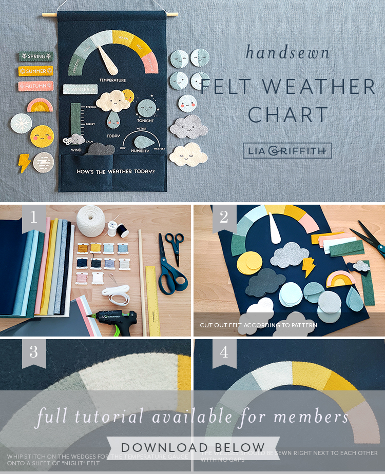 handsewn felt weather chart tutorial by Lia Griffith