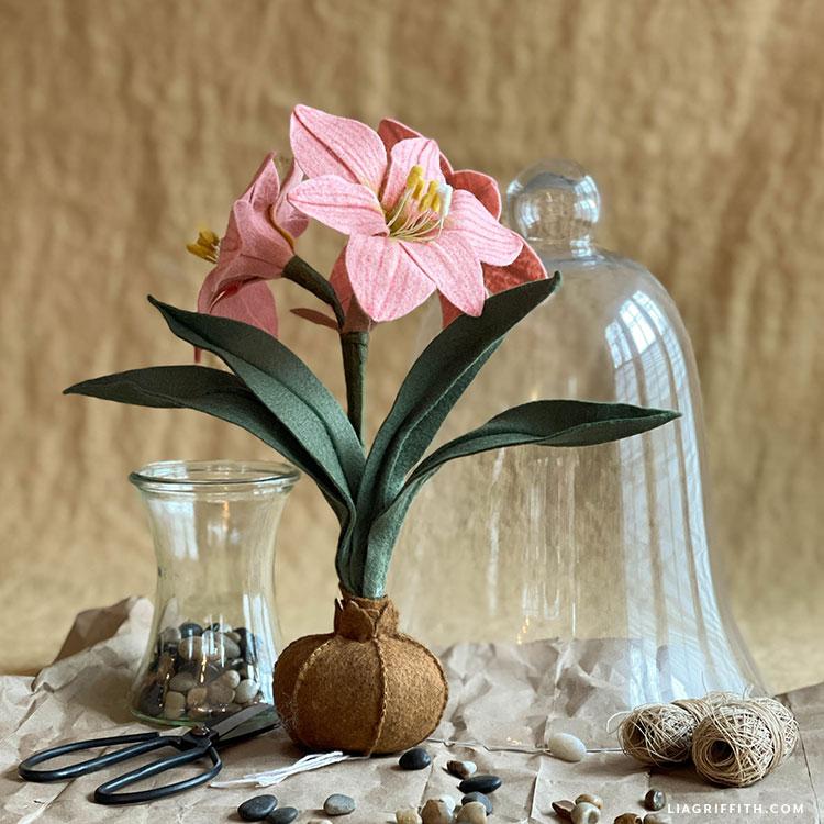 felt amaryllis flowers with bulb