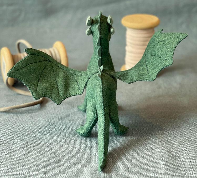 hand-stitched felt dragon