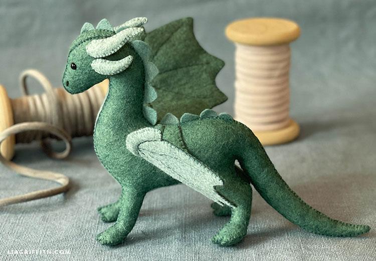 hand-sewn felt dragon