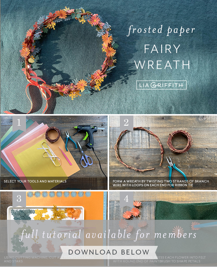 frosted paper fairy wreath tutorial by Lia Griffith