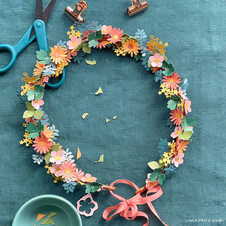 DIY frosted paper fairy wreath