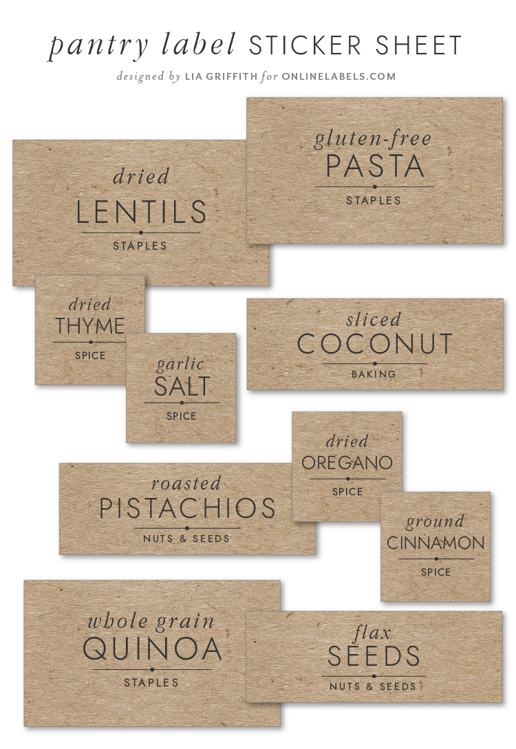 pantry label sticker sheet by Lia Griffith for Online Labels