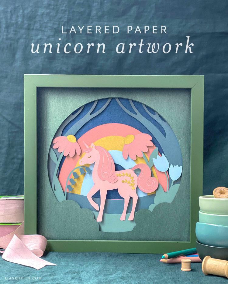 layered paper unicorn artwork