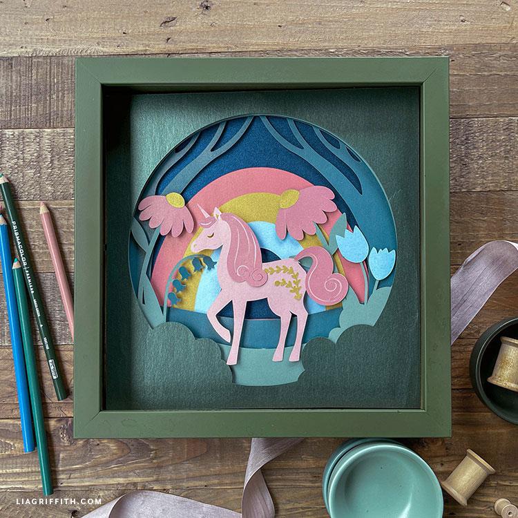 layered paper unicorn art