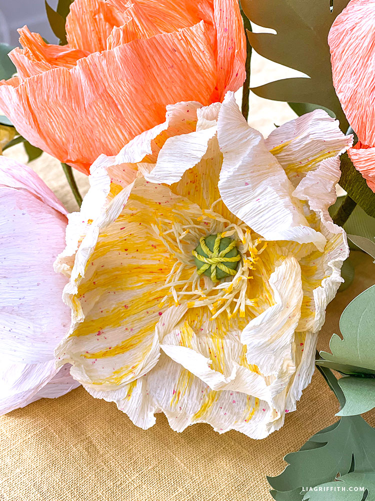 painted crepe paper poppies