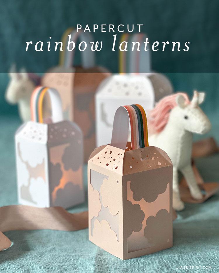 papercut rainbow lanterns
