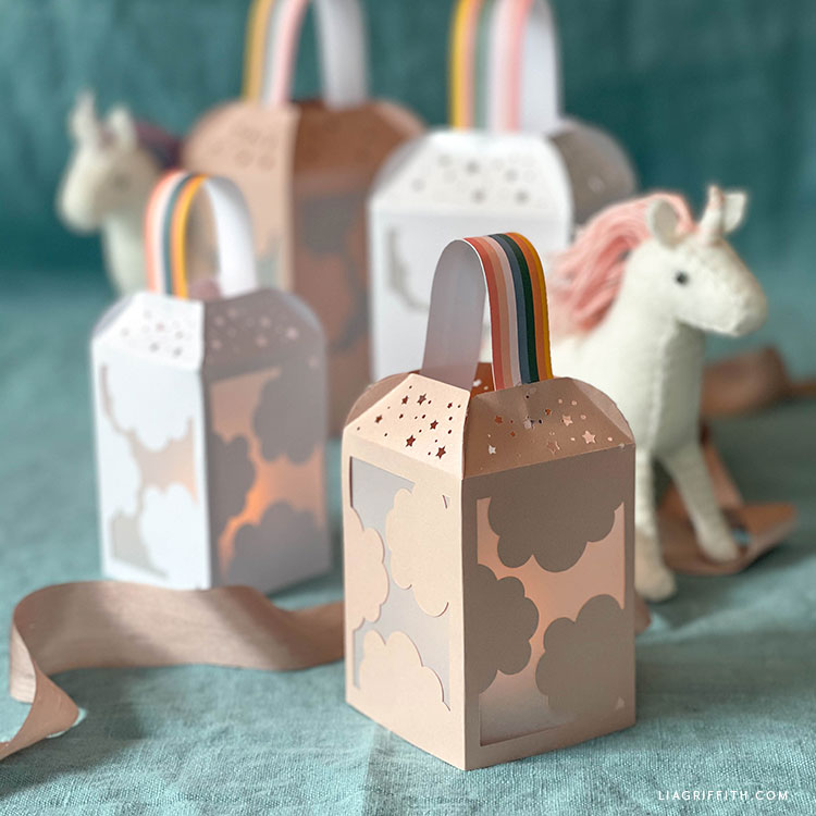 papercut rainbow lanterns and felt unicorns