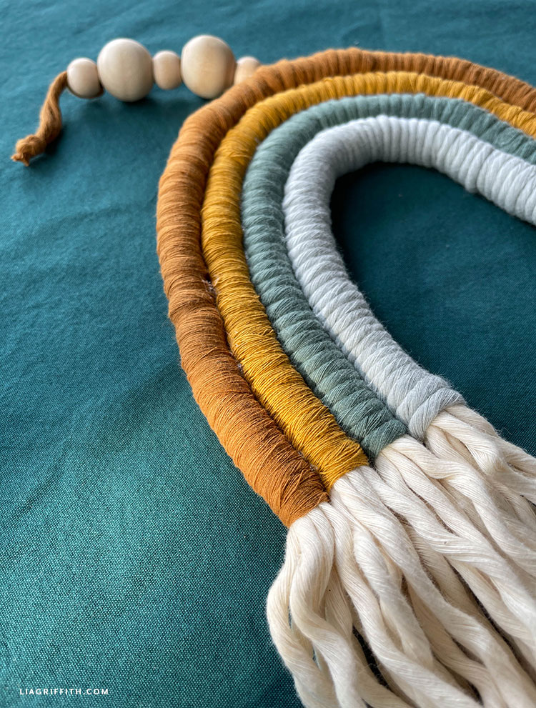 macrame cord rainbow wall hanging