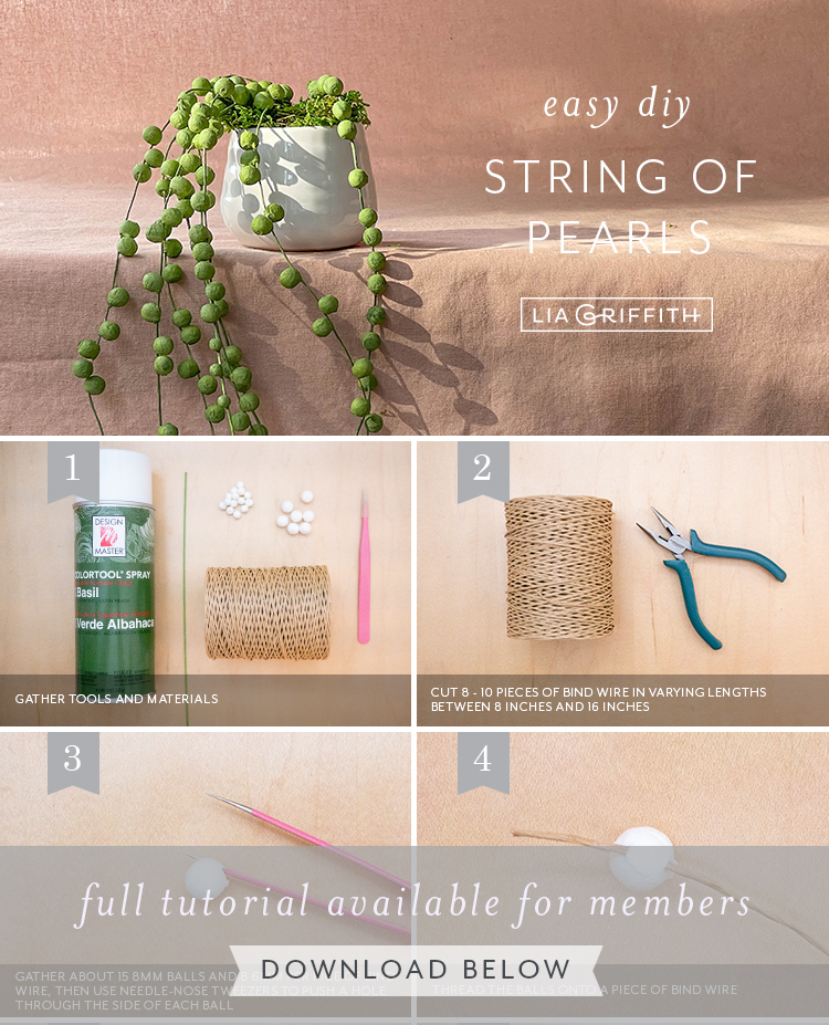 easy DIY string of pearls tutorial by Lia Griffith