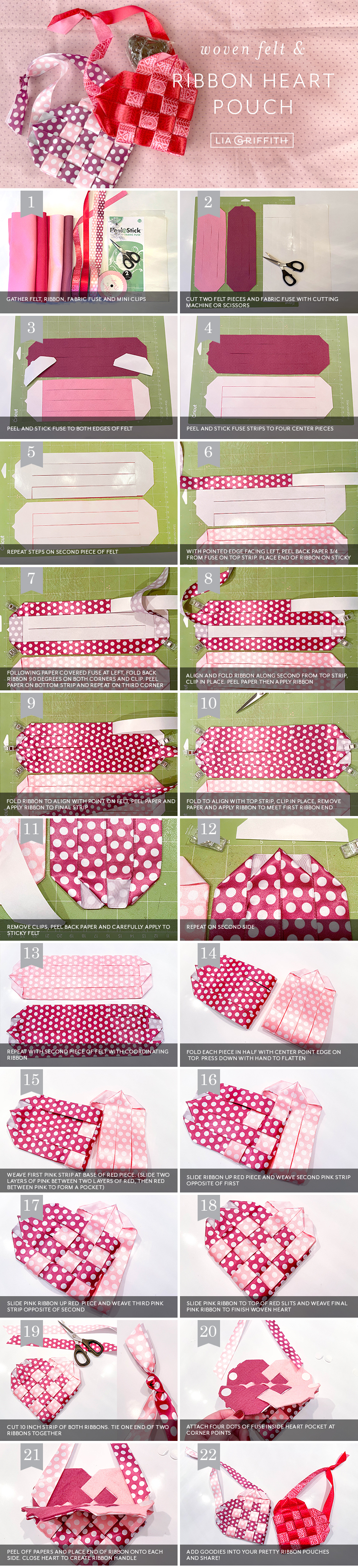 Photo tutorial for woven ribbon heart baskets by Lia Griffith