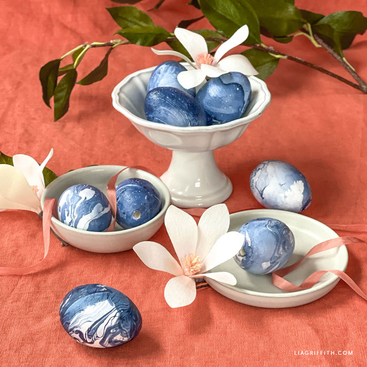 marbled Easter eggs with crepe paper flowers