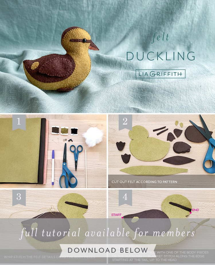 Felt duckling photo tutorial by Lia Griffith
