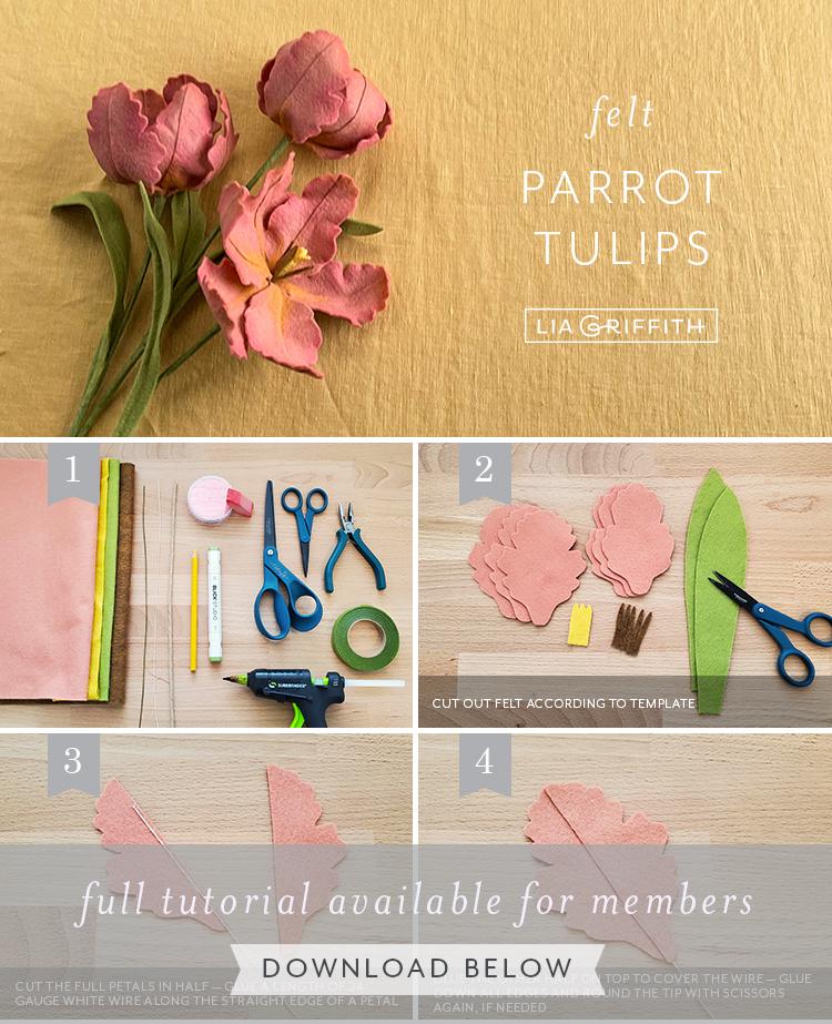 felt parrrot tulips photo tutorial by Lia Griffith