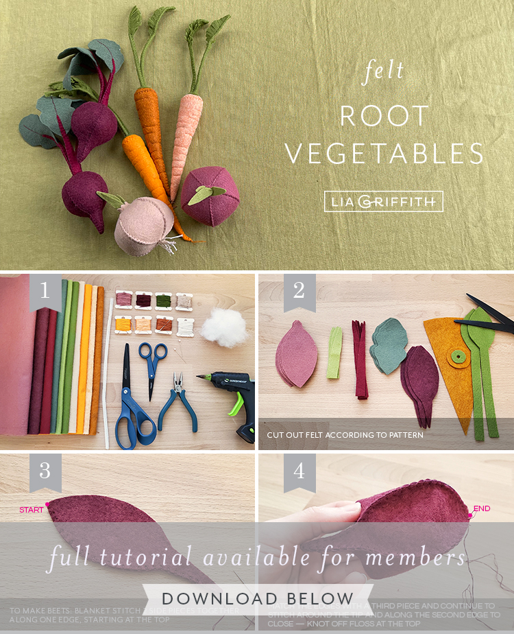 photo tutorial for felt root vegetables by Lia Griffith