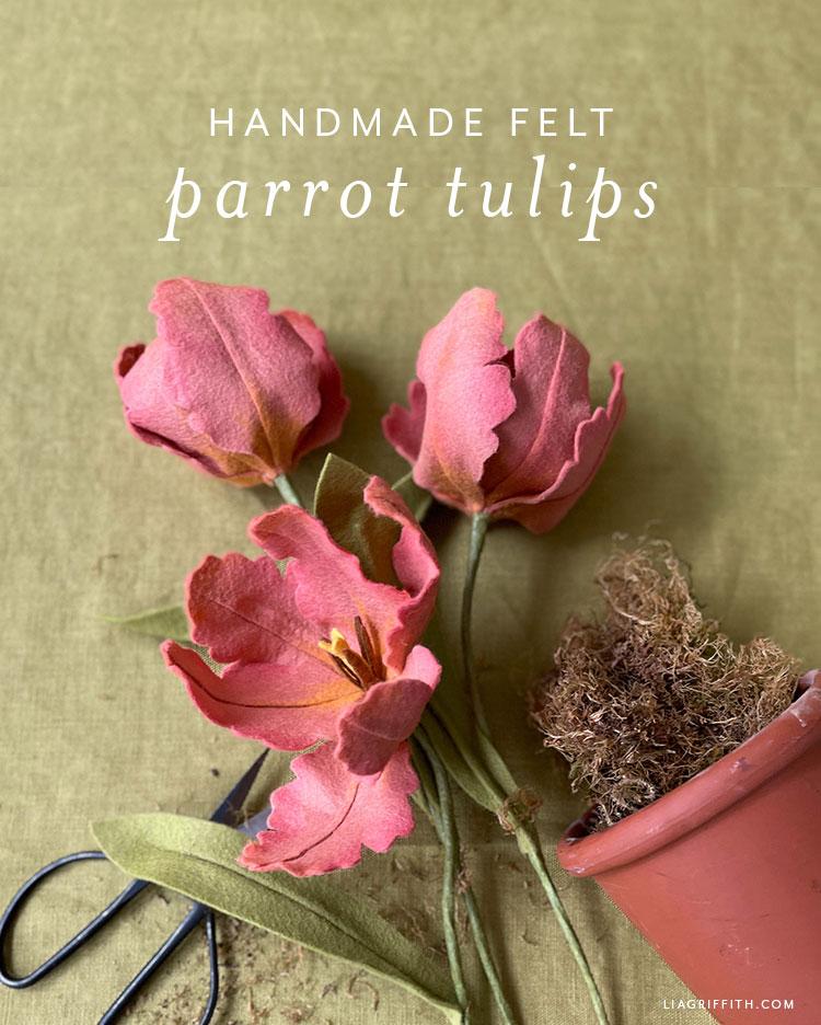 handmade felt parrot tulips