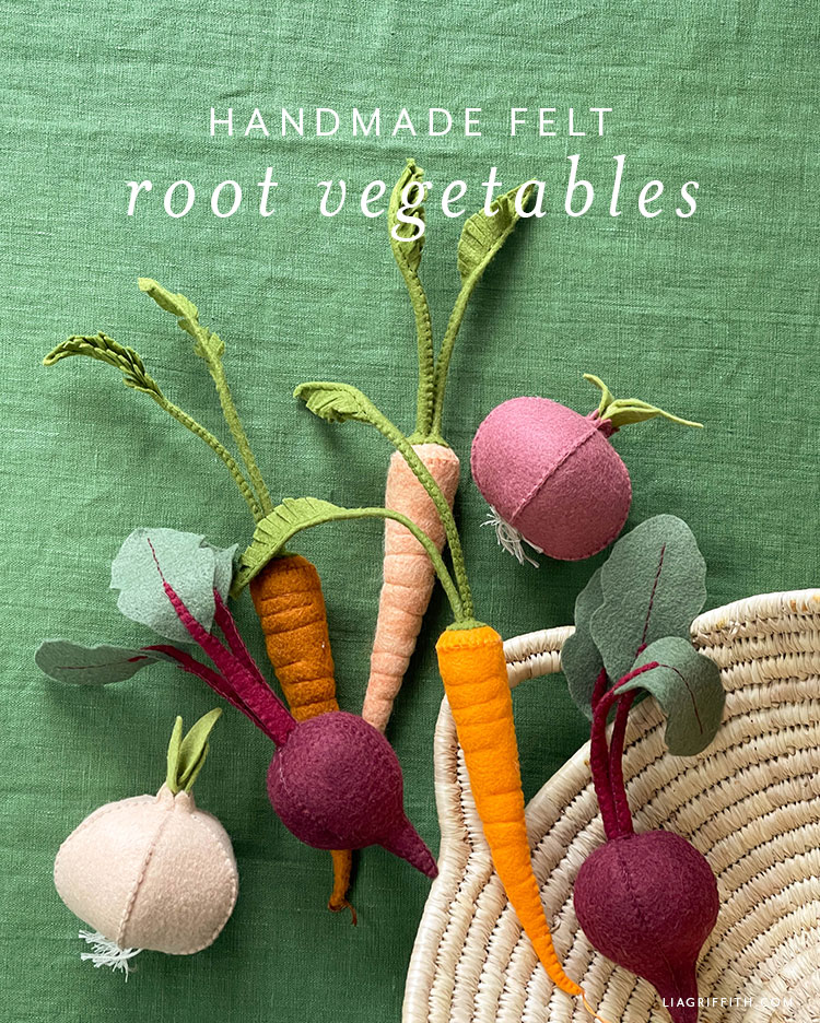 handmade felt root vegetables